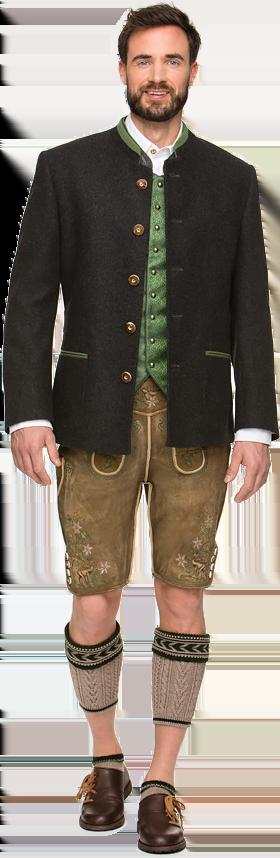 Trachtenjacke Janker Loden 2-Schlitz anthra-hellgrün