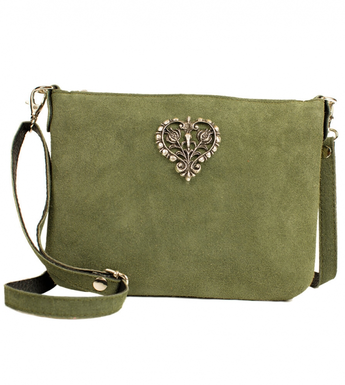 Wildleder Trachtentasche TA30540 mit Metallherz, oliv