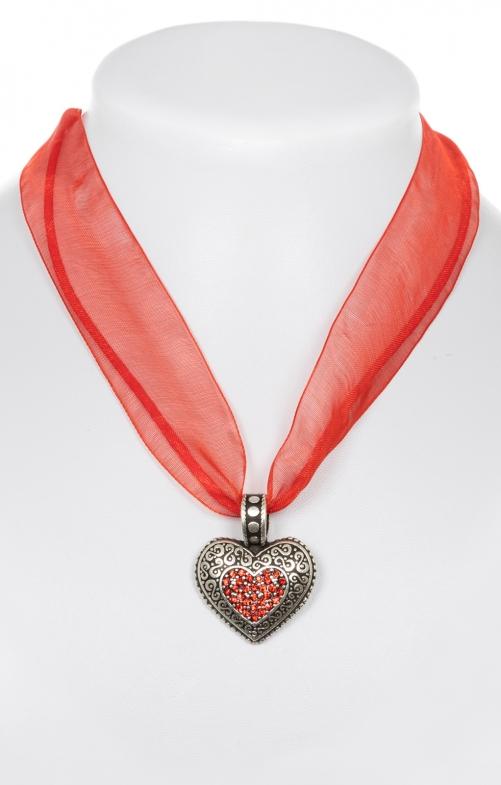 Chiffonband 9631 mit Herz, rot