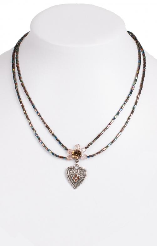 Halskette 2 reihig aus Perlen, 13007 braun