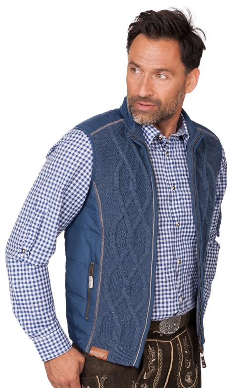 Trachten Strickweste Franko jeansblau