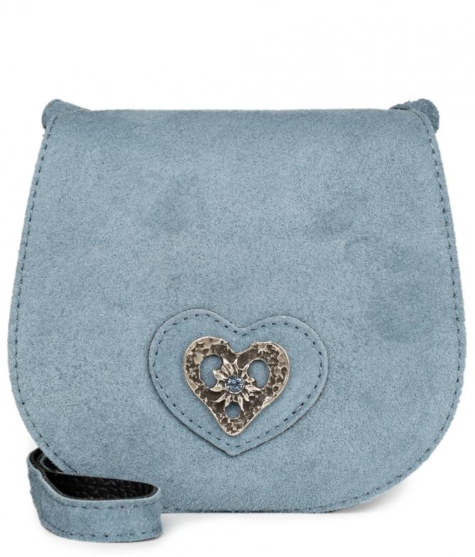 Trachten Ledertasche TA30340 Herz, graublau