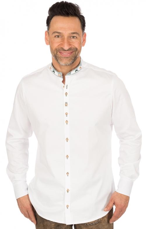 Trachtenhemd PERINO Slim Fit Stehkragen weiss