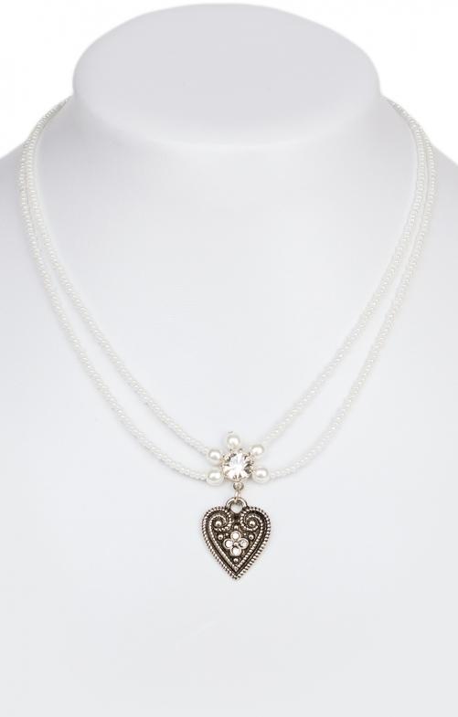Halskette 13007-2044, 2reihig aus Perlen, weiss