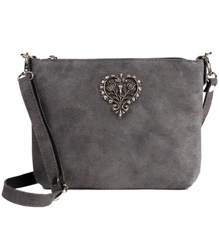 Wildleder Trachtentasche TA30540 mit Metallherz, grau