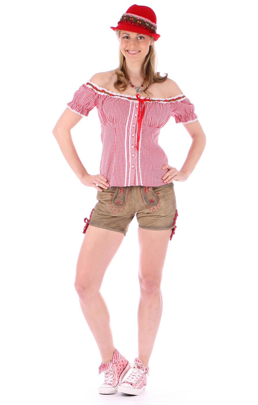 weitere Bilder von Trachten Becky Miederbluse Vichykaro rot