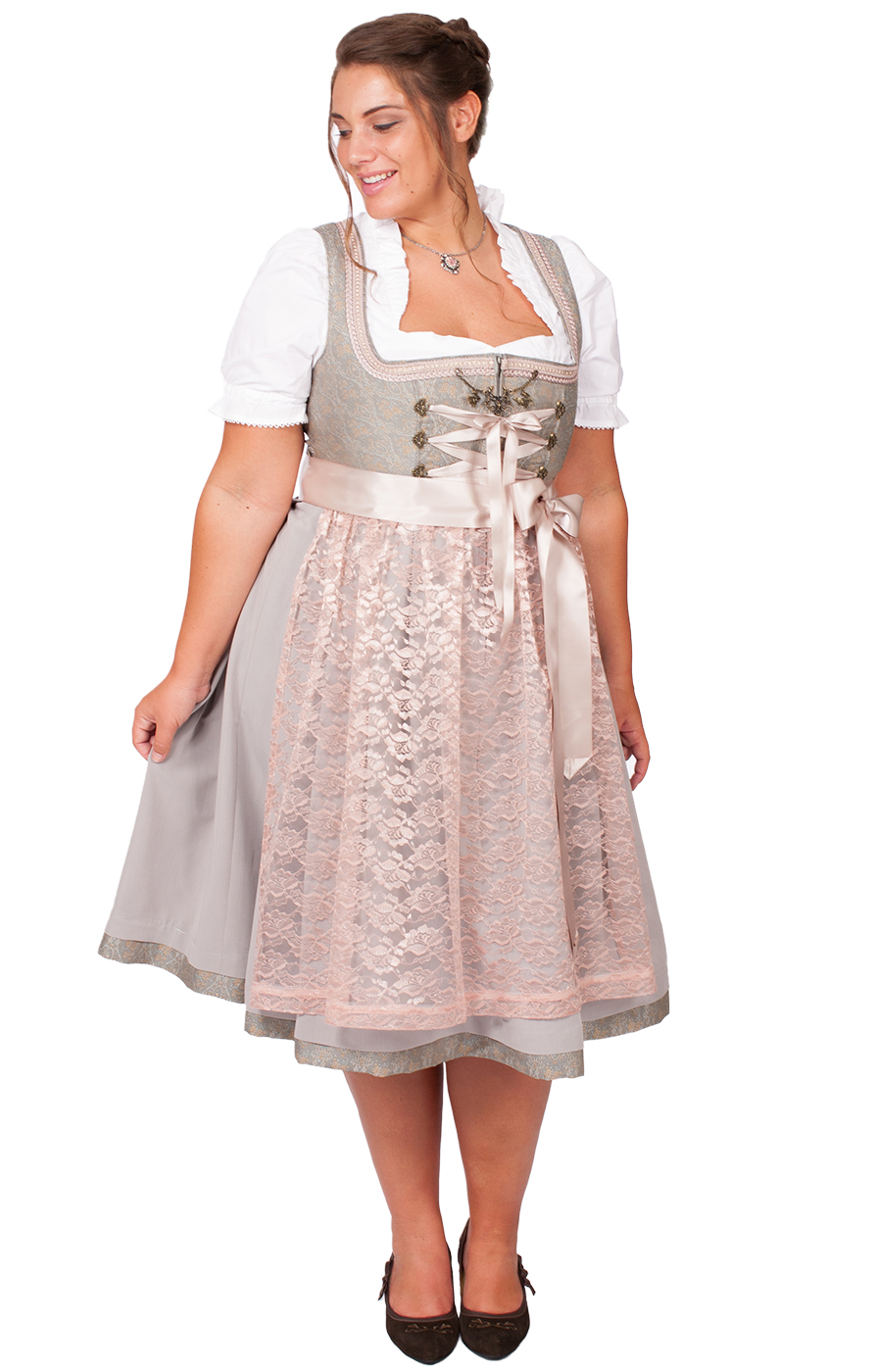 Mididirndl Rosabella 2tlg. 68cm PLUS SIZE rosa grau von Marjo