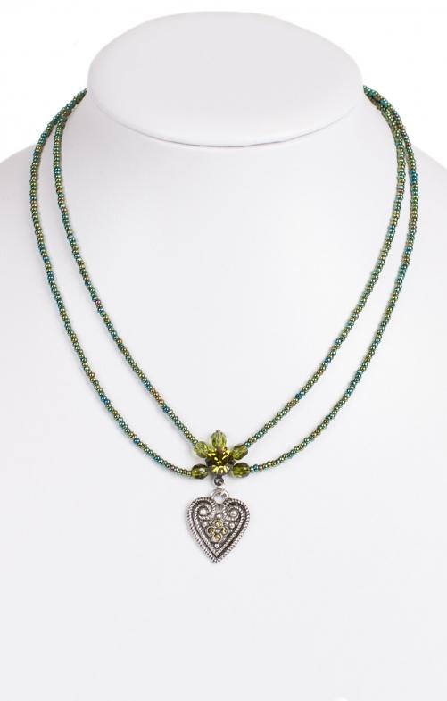 Halskette 2 reihig aus Perlen, 13007 oliv