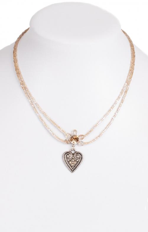 Halskette 2 reihig aus Perlen, 13007 beige