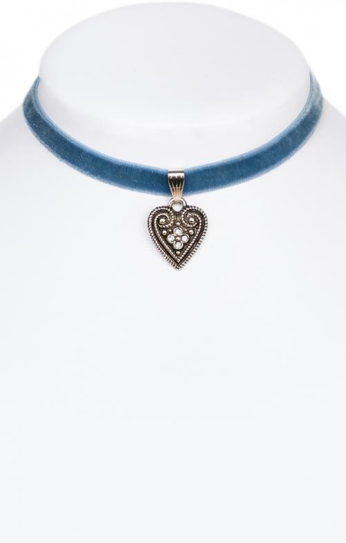 Samtkette 2044 mit Herz, hellblau