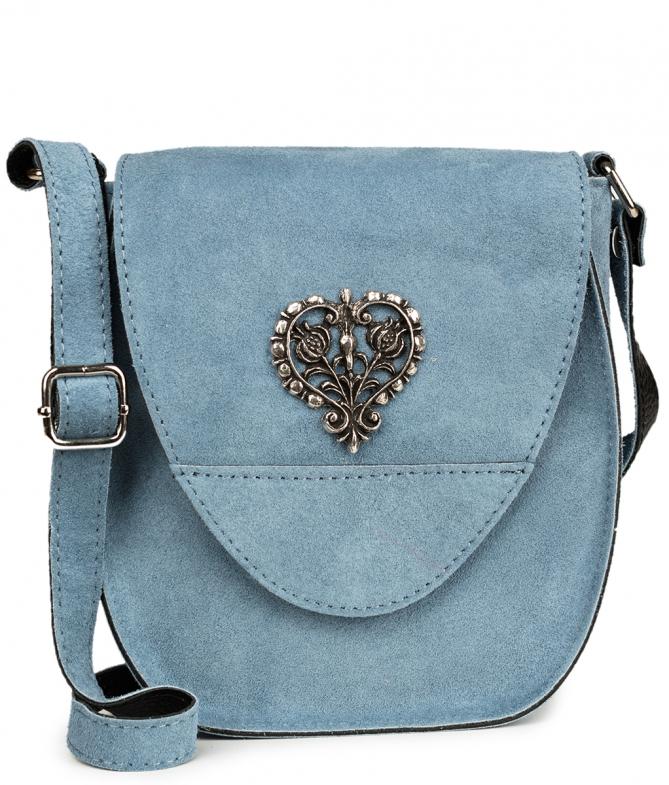 Trachten Ledertasche TA30410 Herz, graublau