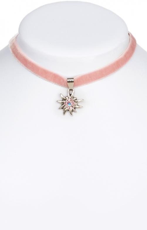 Halskette 9197 Samtband Edelweiss, rose