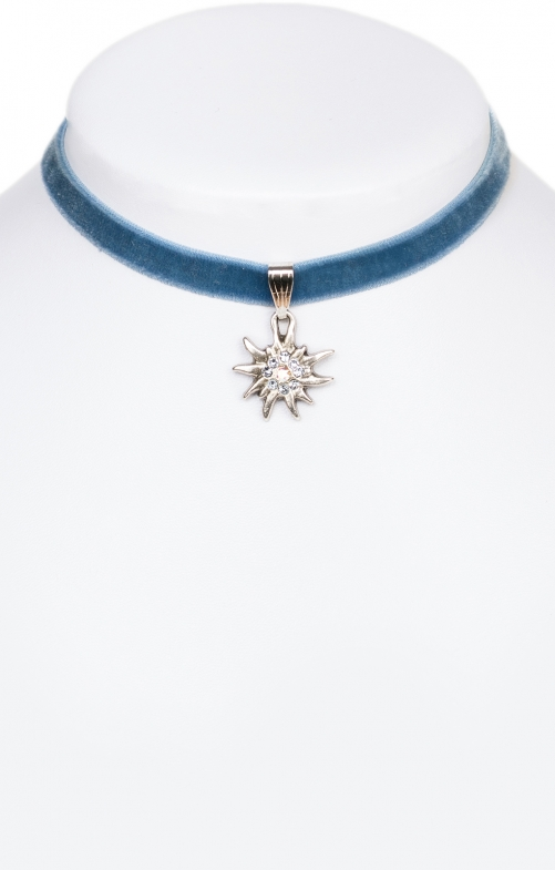 Halskette 9197 Samtband Edelweiss, hellblau
