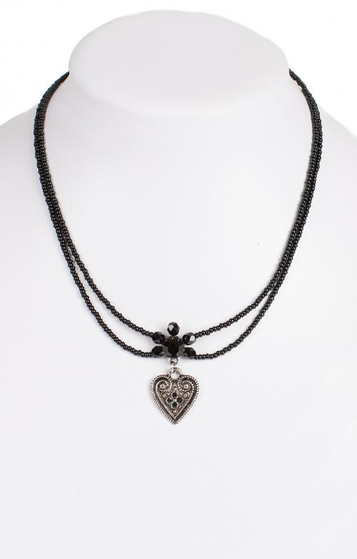 Halskette 2 reihig aus Perlen, 13007 schwarz
